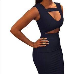 Dresses & Skirts - Dark Blue Cutout Midi Dress